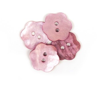 Drops Button Flower Pink 15mm