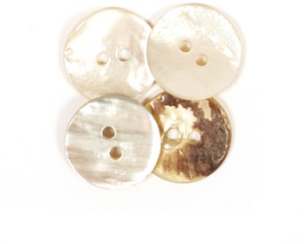 Drops Button Arched White 15mm