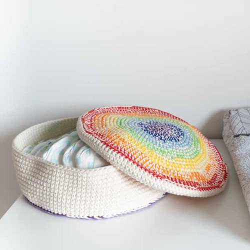 Yarn and Colors Rainbow Basket Crochet Kit 1 Colorful