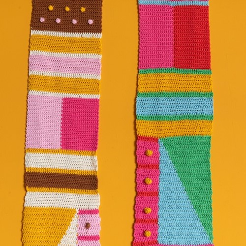 Crochet Pattern Yarn and Colors Graphic Scarf