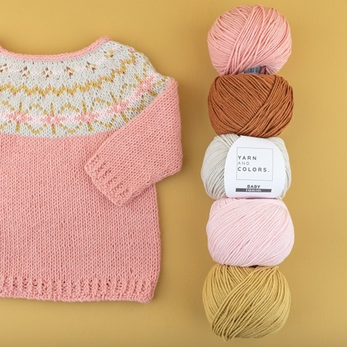 Yarn and Colors Hanna Sweater Knitting Kit 1 Old Pink