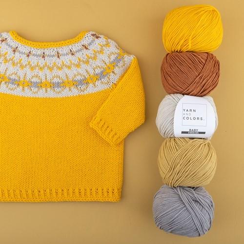 Yarn and Colors Hanna Sweater Knitting Kit 2 Mustard