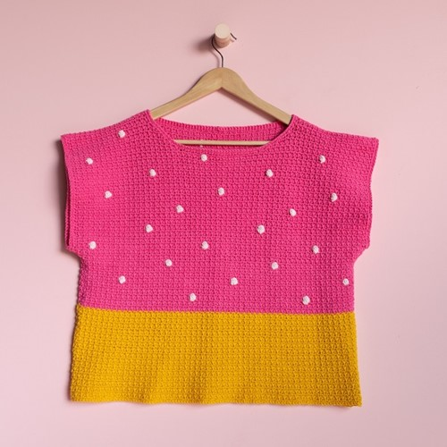 Yarn and Colors 'Baby You Look Fabulous' Top Crochet Kit S 2 Girly Pink