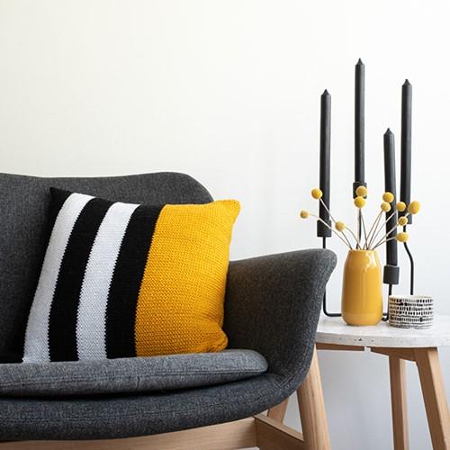 Yarn and Colors Black, White and Bright Comfy Cushion Knitting Kit 015 Mustard