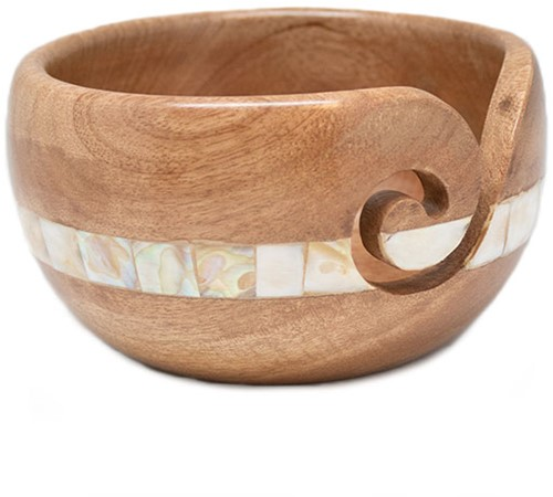 Durable Wooden Yarn Bowl Mother-of-Pearl