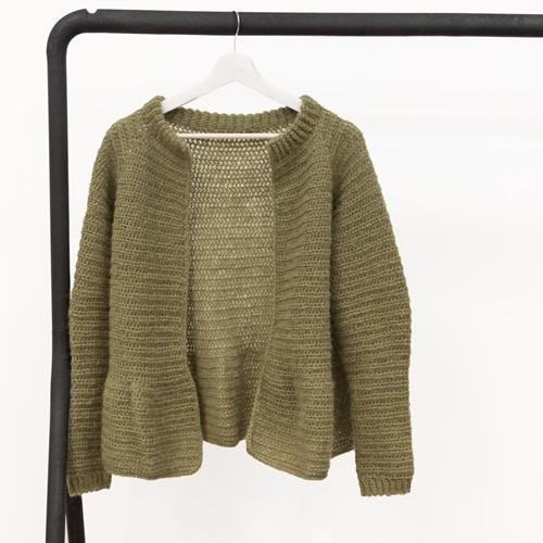 Yarn and Colors Elegant Afternoon Tea Cardigan Crochet Kit S Olive