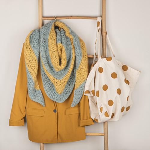 Crochet Pattern Yarn and Colors Elegant Diamond Bobble Shawl