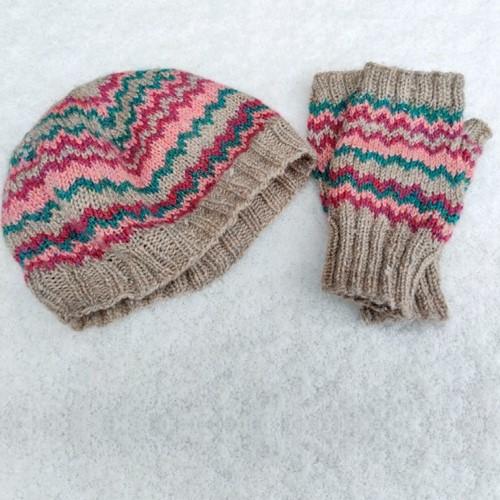 Knitting Pattern Stylecraft Highland Heathers DK No. F094 Zig Zag Hat and Mittens