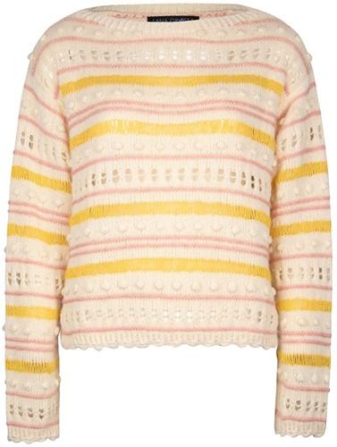 Knitting Pattern Ecopuno Striped Bobble Sweater