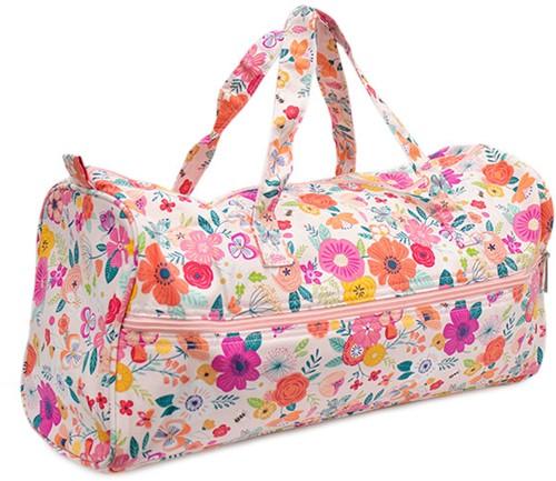 Knitting Bag Floral Garden Pink