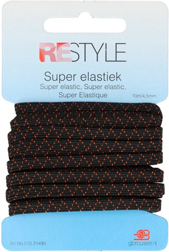 Restyle Super Elastiek 10m/4,5mm Zwart