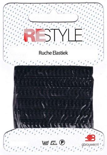Restyle Ruche Elastiek 2m/10mm Zwart