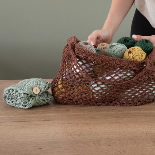 Crochet Pattern Yarn and Colors Foldable Net Bag