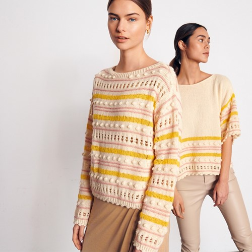 Ecopuno Striped Bobble Sweater Knitting Kit 40/42