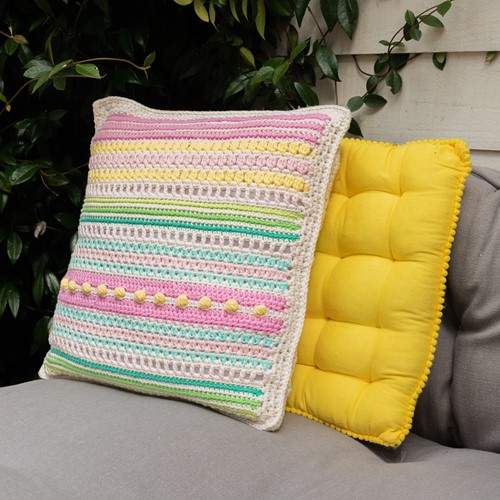 Crochet Pattern Yarn and Colors Garden Party Cushion