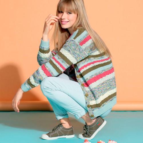 Knitting Pattern Striped Ladies Cardigan