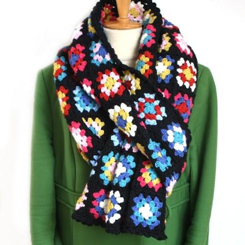 Crochet Pattern Basic Merino Granny Square Scarf