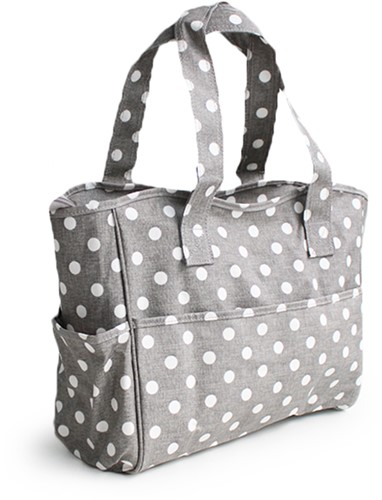 Craft Bag Grey Linen Polka Dot