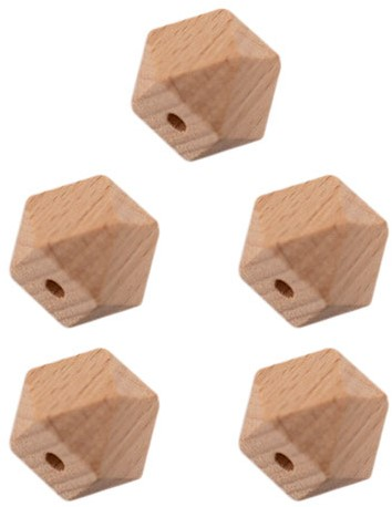 Durable Wooden Hexagon Beads 5 pieces 14mm