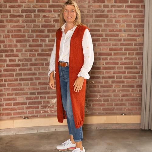 Bea Long Cardigan Without Sleeves Knitting Kit 2 Chestnut XXL