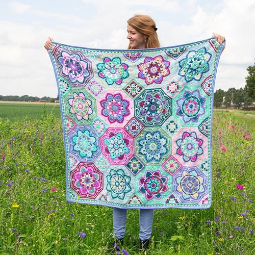 Persian Tiles Lavender Fields Blanket Crochet Kit