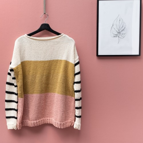 Knitting Pattern Yarn and Colors Striped Jumper Color Block