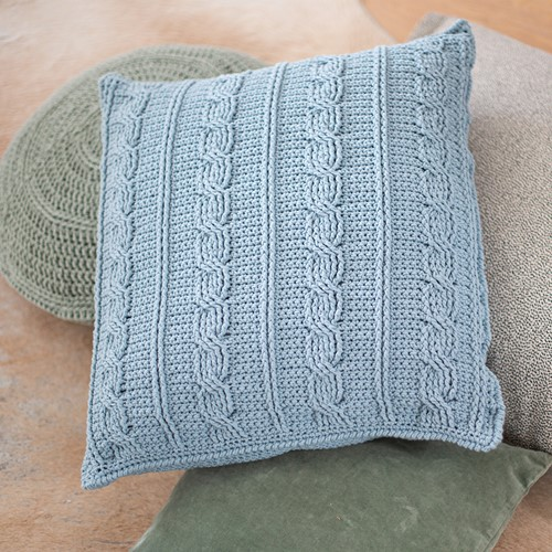 Crochet Pattern Cotton Tube Cable Cushion