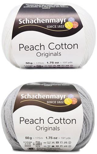Peach Cotton Ellen Summer Cardigan Knitting Kit 1 44/46 Silver / White