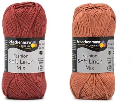 Soft Linen Mix Kalea Summer Cardigan Crochet Kit 1 36/38 Rust / Almond