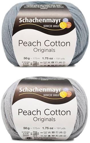 Peach Cotton Ellen Summer Cardigan Knitting Kit 2 44/46 Silver / Light Denim