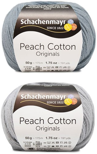 Peach Cotton Ellen Summer Cardigan Knitting Kit 2 40/42 Silver / Light Denim