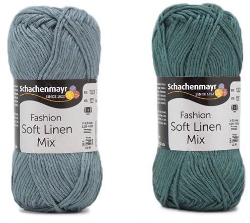Soft Linen Mix Kalea Summer Cardigan Crochet Kit 2 44/46 Ice Blue / Green