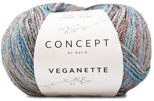 Veganette Kids Cardigan Knitting Kit 1 10 years Wine Red / Stone Grey / Blue