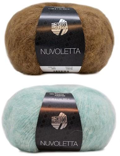 Nuvoletta Raglan Coat Knitting Kit 1 Camel/Turquoise 42/46