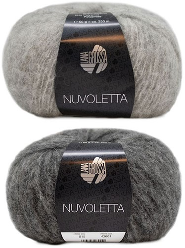 Nuvoletta Raglan Coat Knitting Kit 2 Light/Dark Grey 42/46