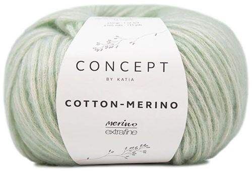 Cotton-Merino Herringbone Stitch Sweater Knitting Kit 1 Green water 42/44