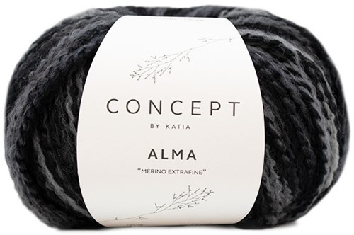 Alma Oversized V-neck Sweater Knitting Kit 1 Black/Grey 50/52