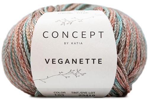 Veganette Shawl Knitting Kit 2 Rust Brown / Brown / Green-Blue