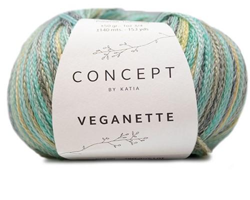 Veganette Girls Cardigan Knitting Kit 2 10 years Smaragd Green / Lemon Yellow / Grey