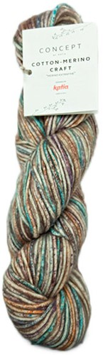Cotton-Merino Craft Short Cardigan Knitting Kit 2 Brown/Lila/Turquoise 44/48
