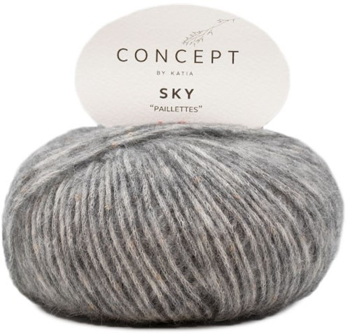 Sky V-neck Sweater Knitting Kit 2 Dark gray 50/52