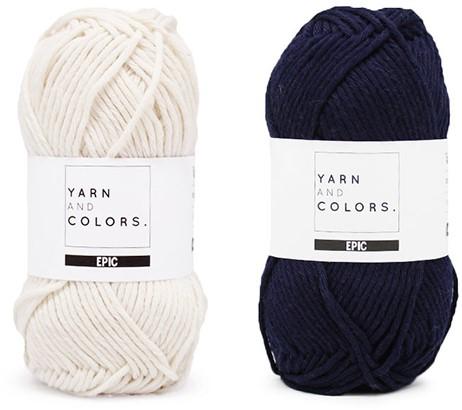 Yarn and Colors Striped Jumper Reversed Knitting Kit 3 L Dark Blue