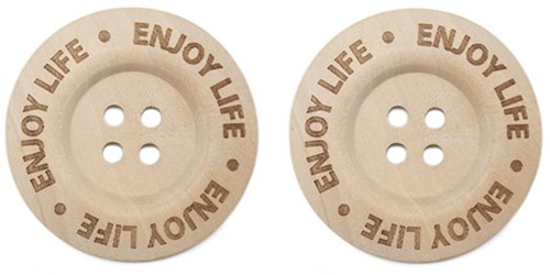 Durable Wooden Buttons Enjoy Life 40mm 2 pieces