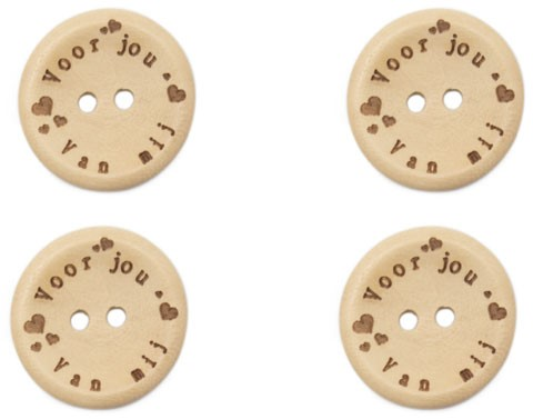 Durable Houten Knopen Voor Jou Van Mij 20mm 4 stuks