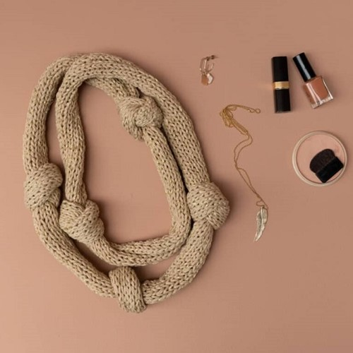 Yarn and Colors Knot a Scarf Knitting Kit 1 Limestone