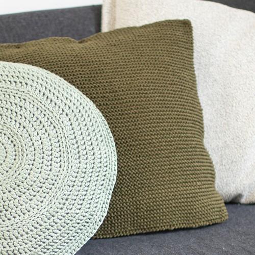 Acrylic Ribbon Cushion Knitting Kit 1 Olive green