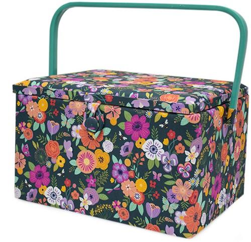 Sewing Basket Large Floral Garden Teal