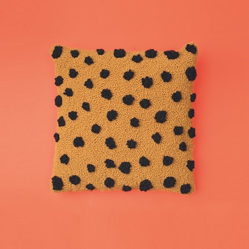Cheetah Print Cushion Punch Needle Kit 1 Saffron/Black