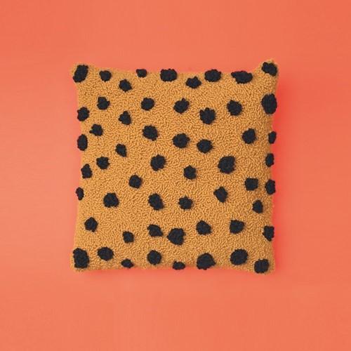 Cheetah Print Cushion Punch Needle Kit 2 Cream/Mustard