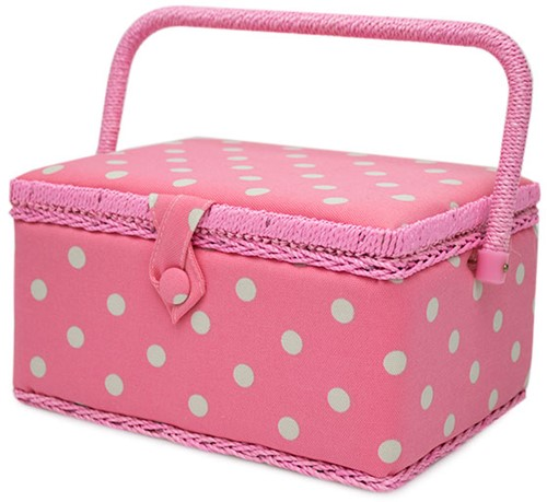 Sewing Basket Medium Flamingo Polka Dot